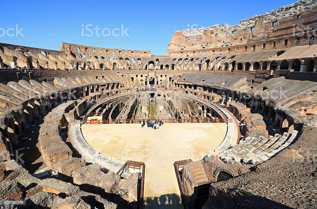 Inside the Colosseum, Rome. Super Wide Angle stock photo