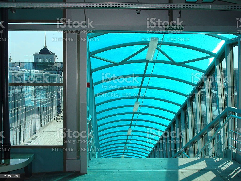 Inside the Concourse at a Modern Railway Station stock photo