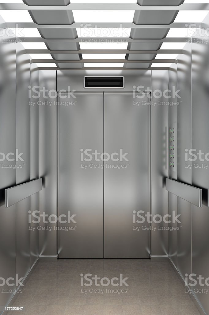 Inside The Elevator At The Hospital Going To The 4th Floor royalty-free stock photo