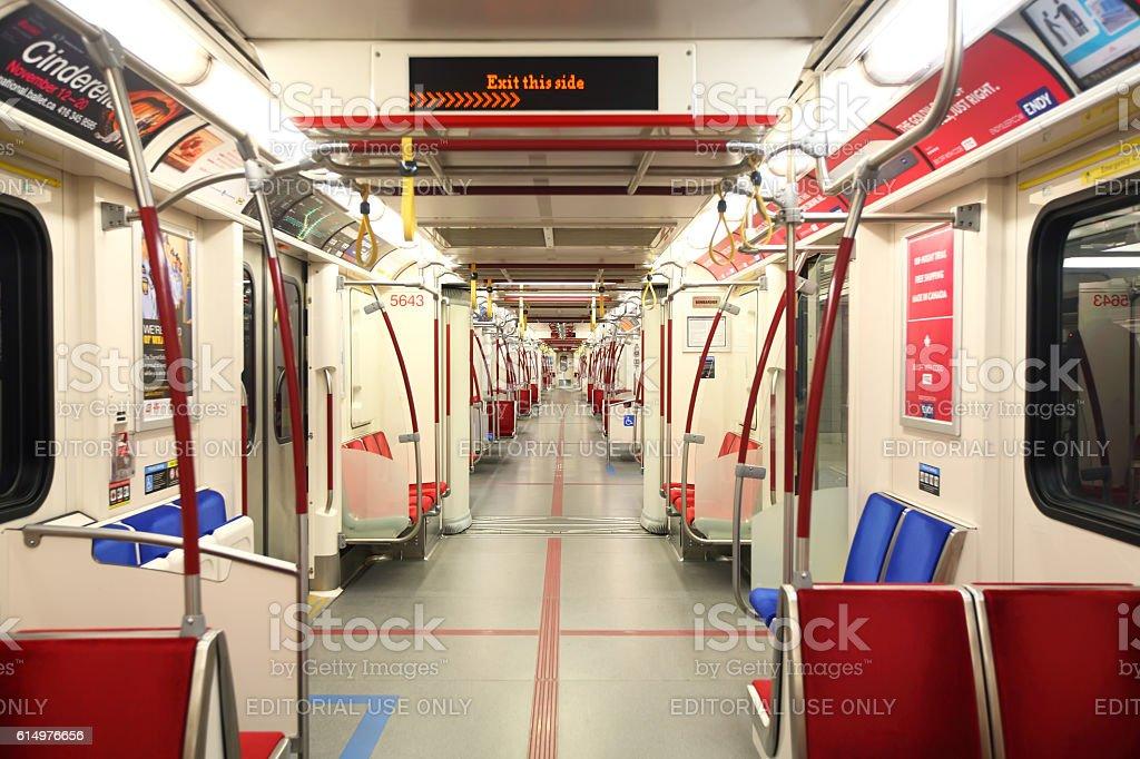Inside the empty Toronto Rocket subway train stock photo