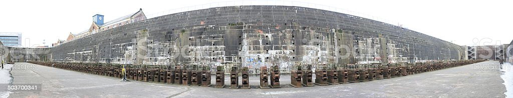 Inside the Enormous Titanic Dry Dock stock photo