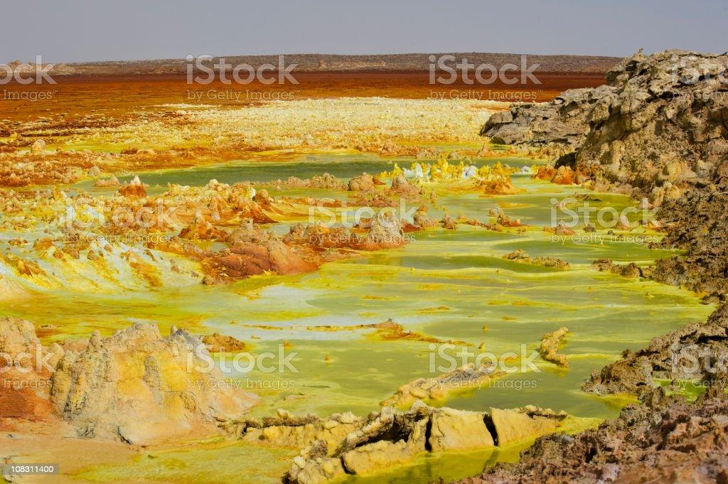 Inside the explosion crater of Dallol volcano, Danakil Depression, Ethiopia stock photo