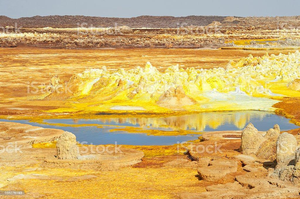 Inside the explosion crater of Dallol volcano, Danakil Depression, Ethiopia royalty-free stock photo