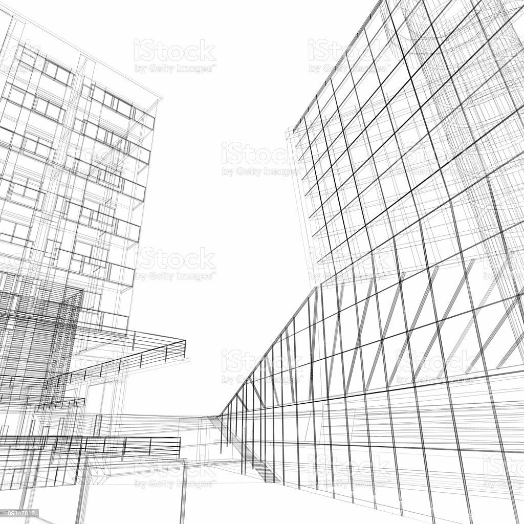 Inside the financial district (Architectural wireframe) royalty-free stock photo