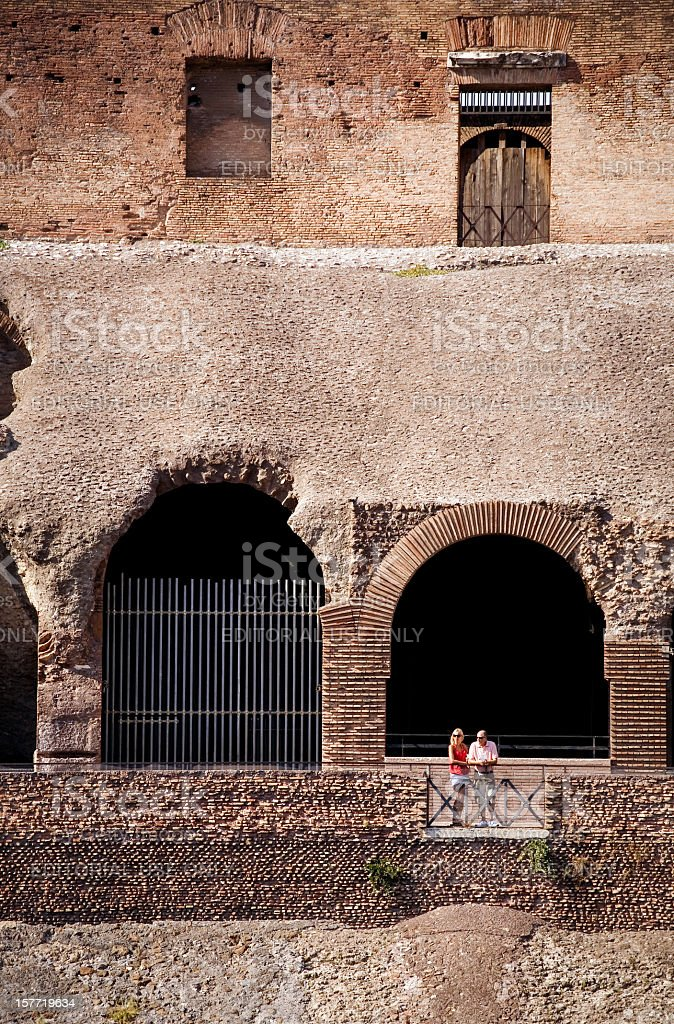 Inside the Flavian Amphitheater, or Coliseum stock photo