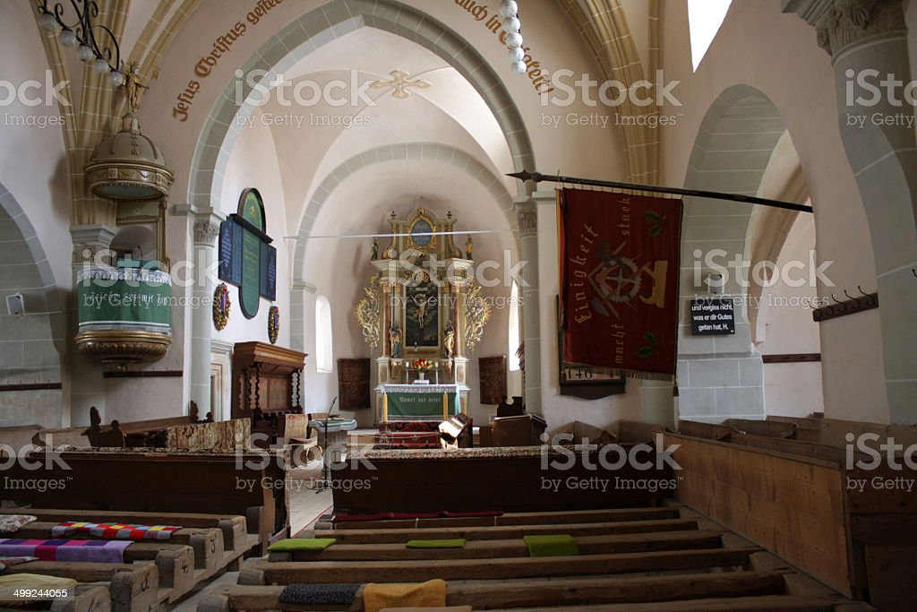 Inside the Fortified Evangelical Church from H?rman stock photo