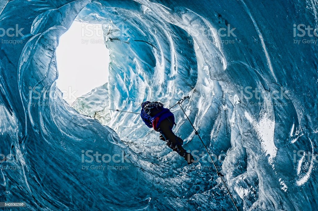 Inside the glacier stock photo
