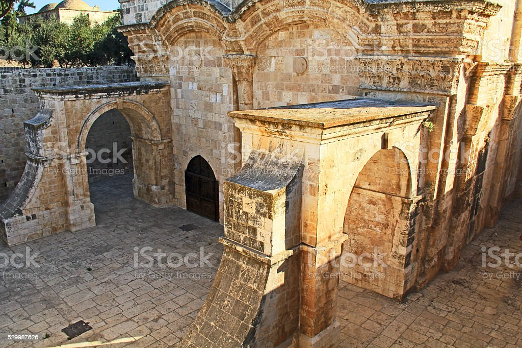 Inside the Golden Gate as seen From the Temple Mount stock photo