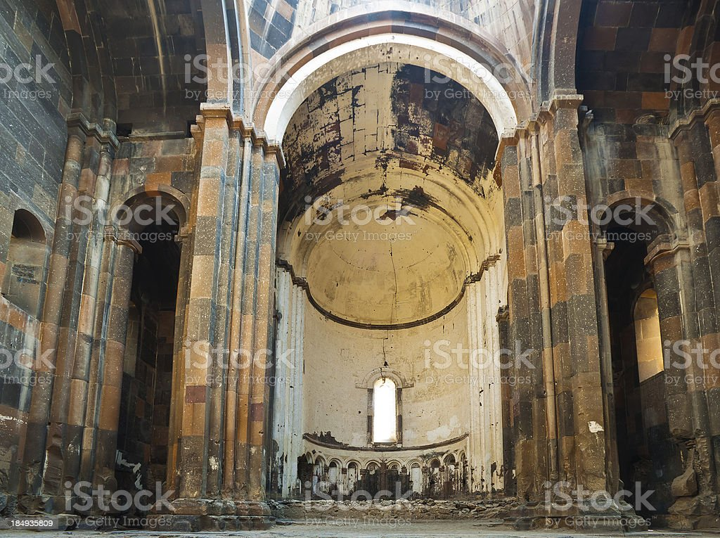 Inside the Greath Cathedral of Ani stock photo