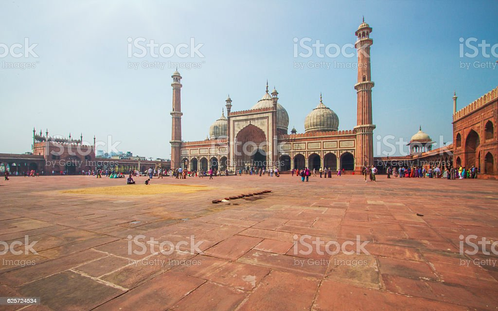 Inside the grounds of Jama Masjid Mosque stock photo