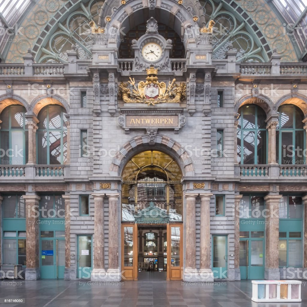Inside the historic Central Station of Antwerp, Belgium. stock photo