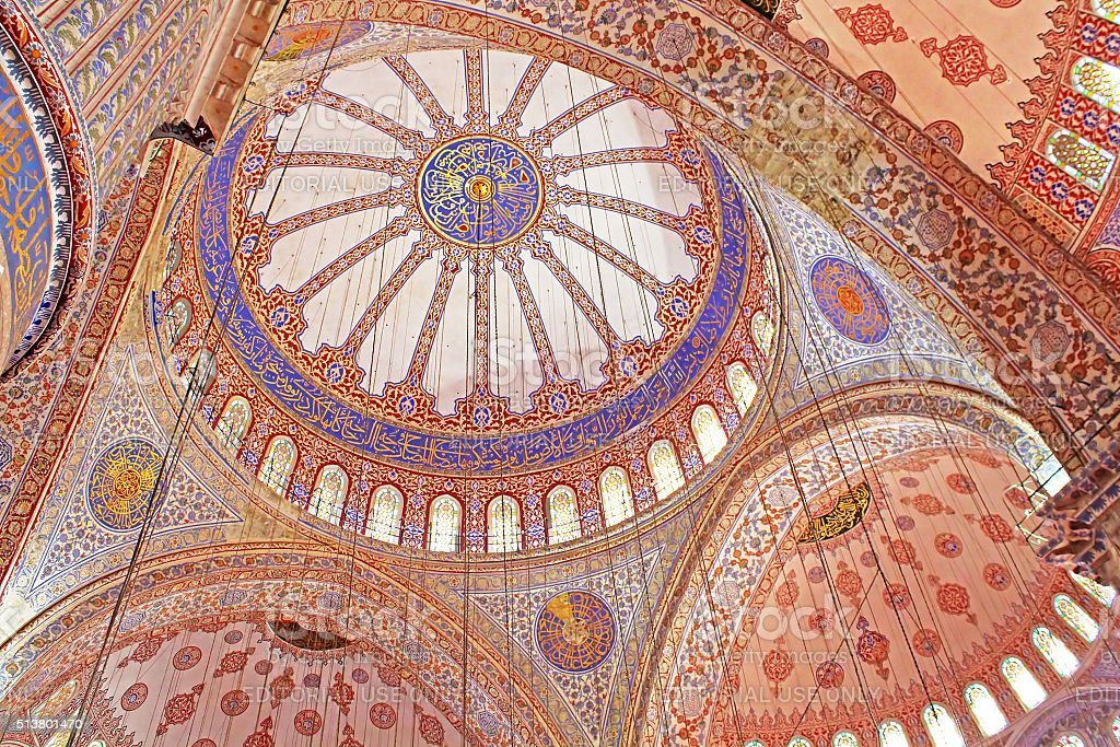 Inside the islamic Blue mosque in Istanbul, Turkey stock photo