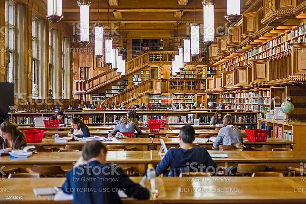 Inside the library of the university of Leuven, Belgium stock photo