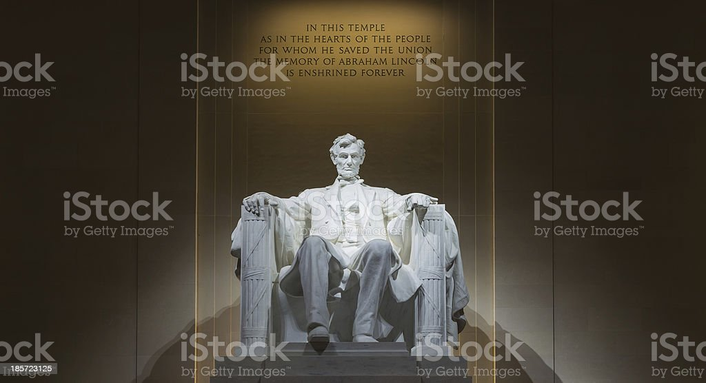 Inside the Lincoln Memorial stock photo