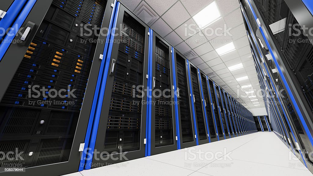 Inside the long server room tunnel stock photo