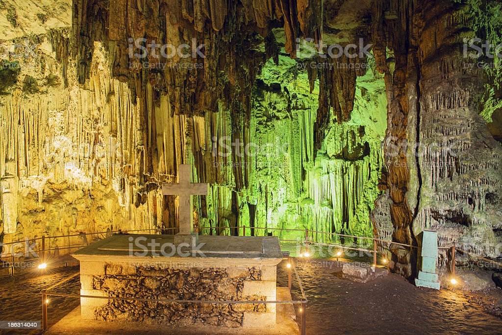 Inside the Melidoni cave. Crete. Greece royalty-free stock photo