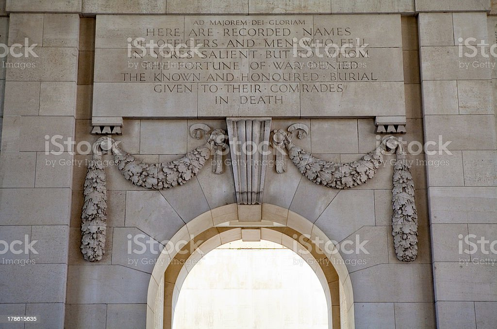 Inside the Menin Gate in Ypres stock photo