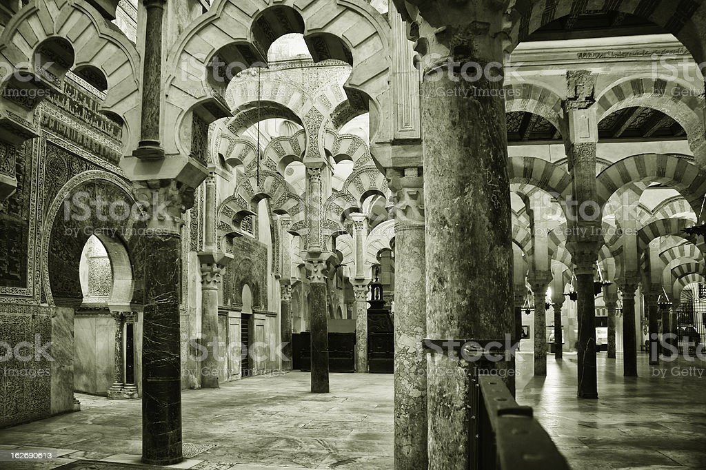 Inside the Mezquita in Cordoba royalty-free stock photo