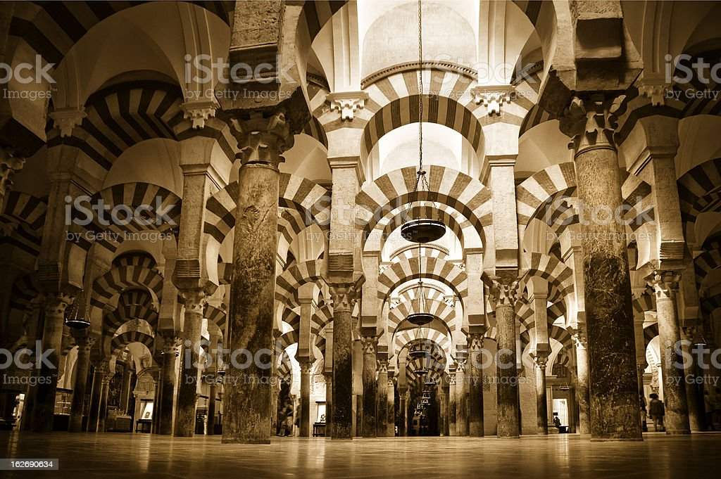 Inside the Mezquita in Cordoba royalty-free stock photo