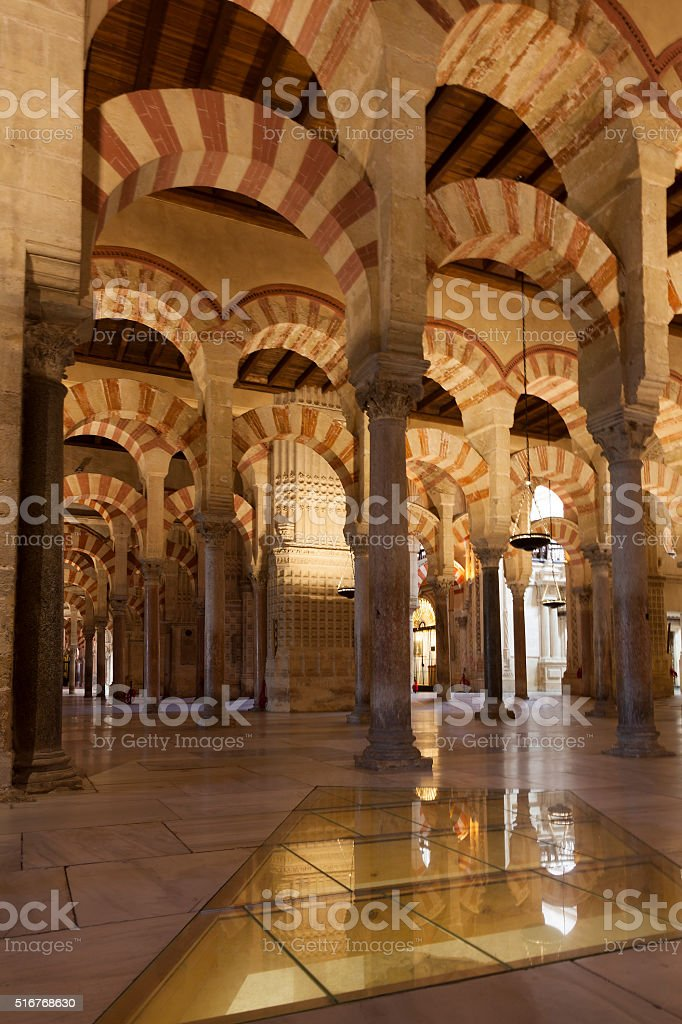 Inside the Mosque-cathedral of Cordoba stock photo