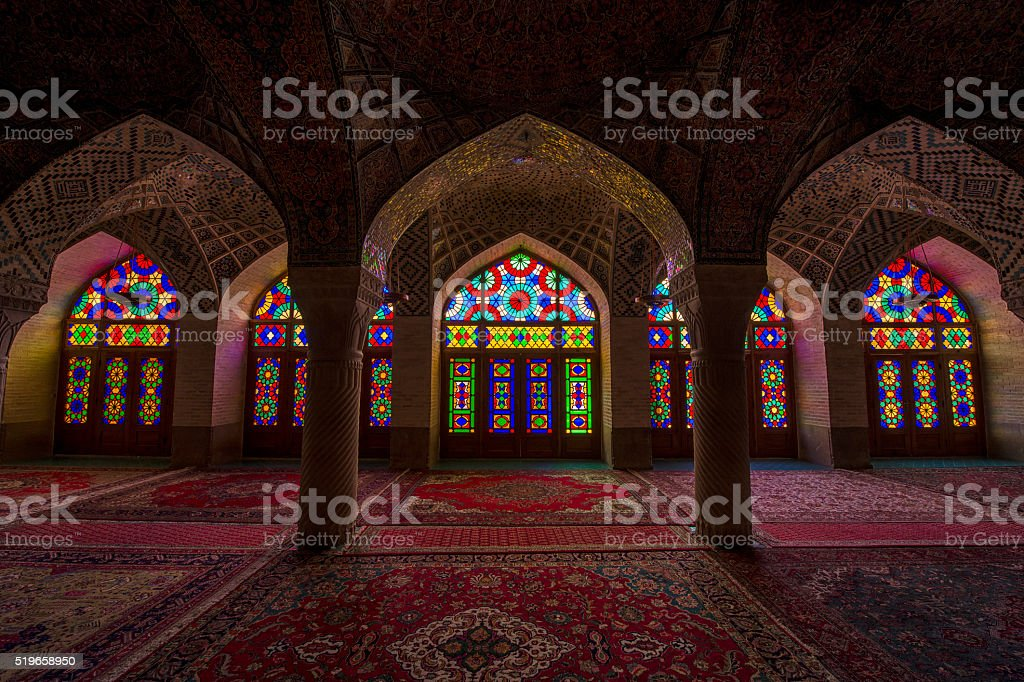 Inside the Nasir ol Molk Mosque in Shiraz, Iran stock photo