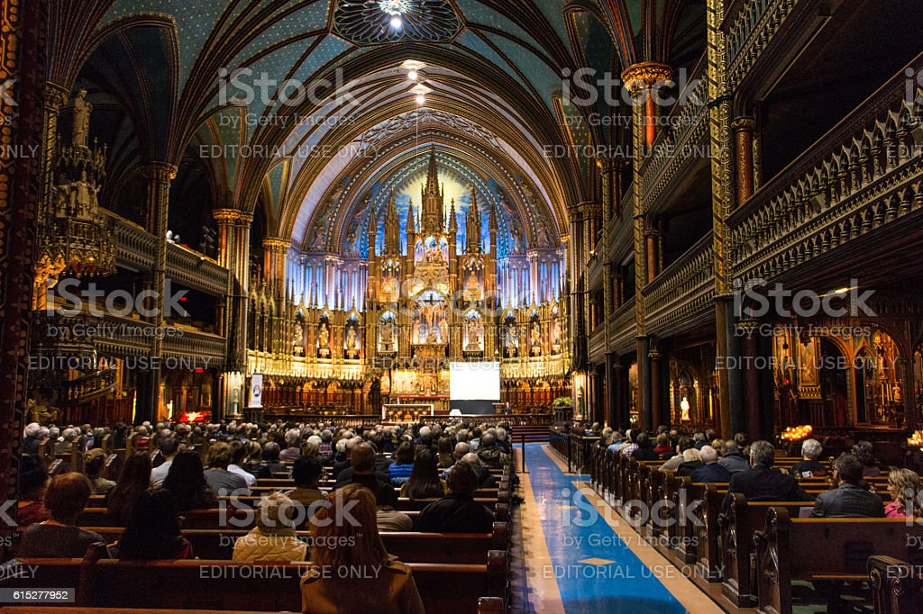Inside the Notre-Dame Basilica stock photo