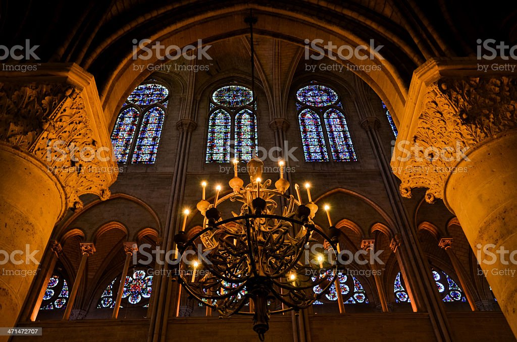 Inside the Notre-Dame de Reims stock photo