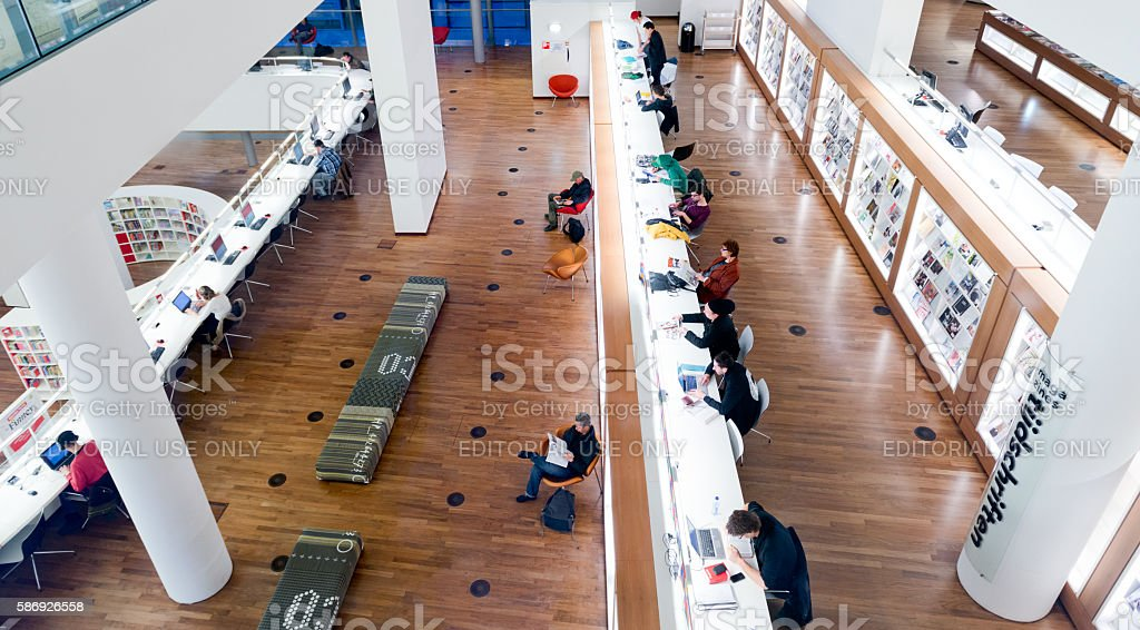 Inside the Public Library of Amsterdam stock photo