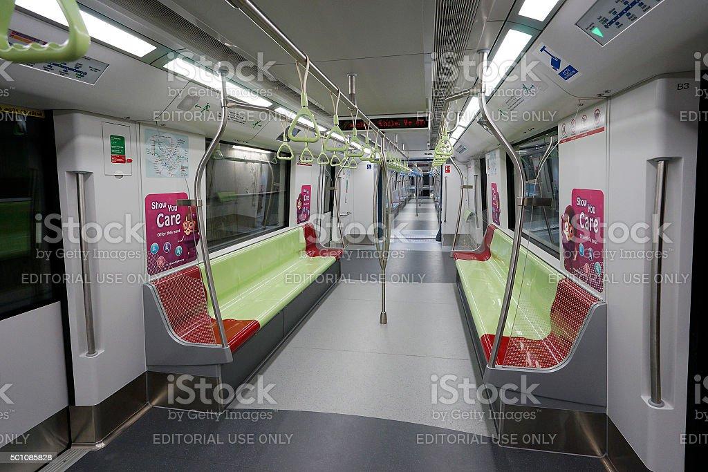 Inside the public transport train in Singapore. stock photo