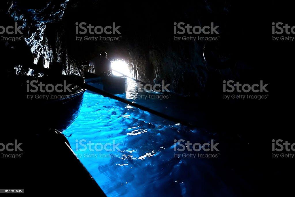 "Inside the ""Blue grotto"" of Capri stock photo"