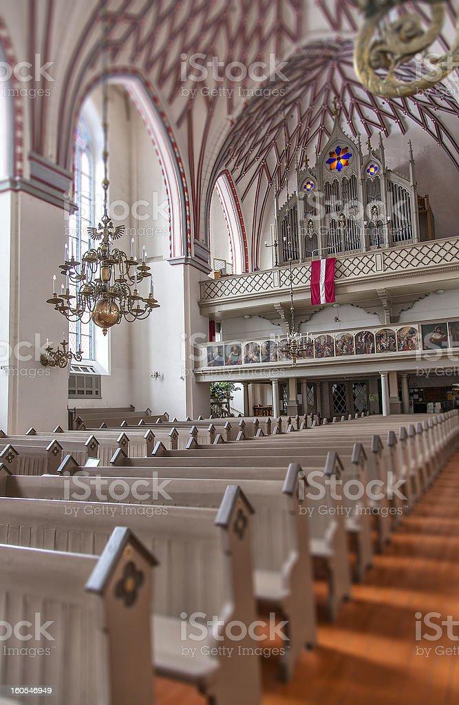 Inside the Riga church of St Johns royalty-free stock photo