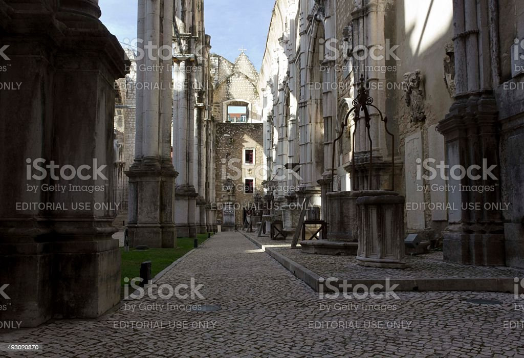 Inside the ruins of Carmo Convent in Lisbon stock photo