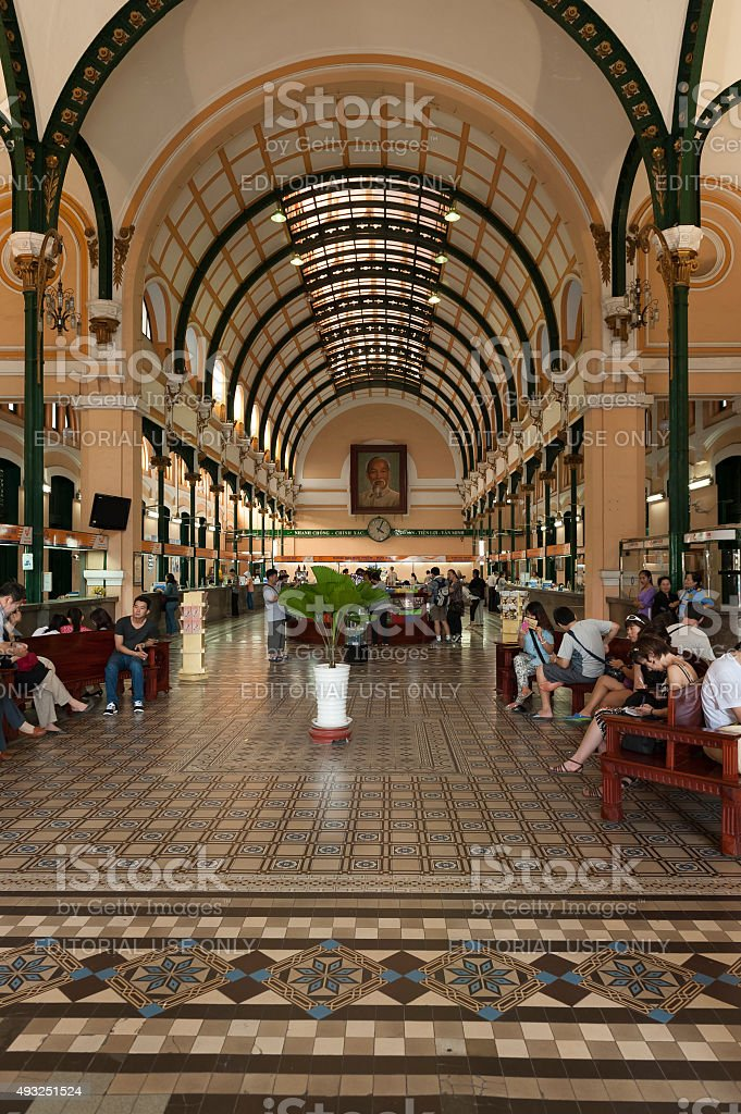 Inside The Saigon Central Post Office stock photo