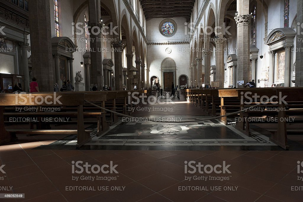 inside the santa croce church, florence stock photo