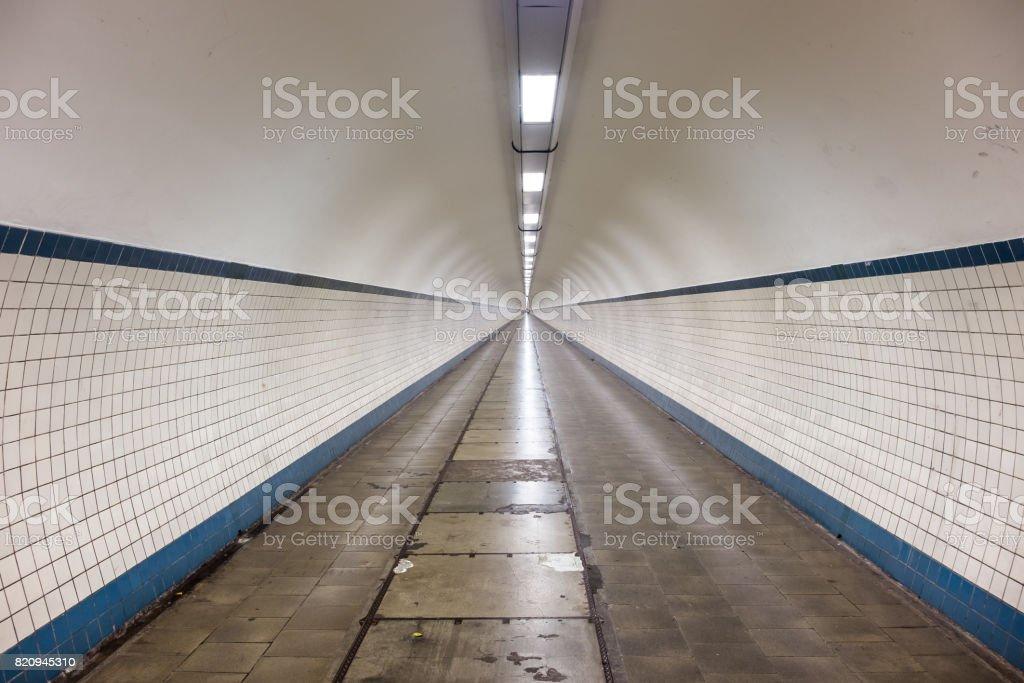 Inside the Sint-Anna Pedestrian Tunnel in Antwerp stock photo