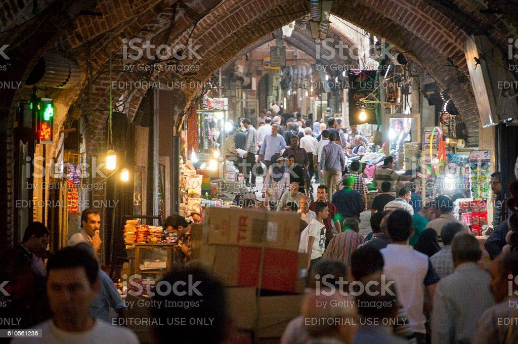 Inside the Tabriz Bazaar, Iran's oldest market. stock photo