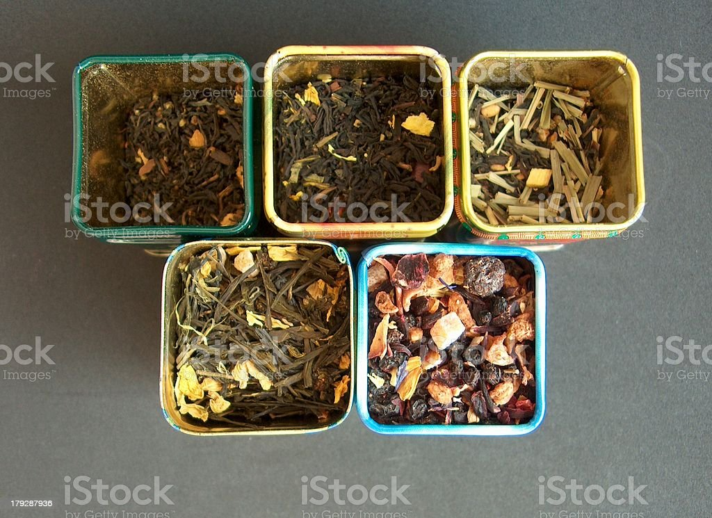 Inside the tea boxes stock photo