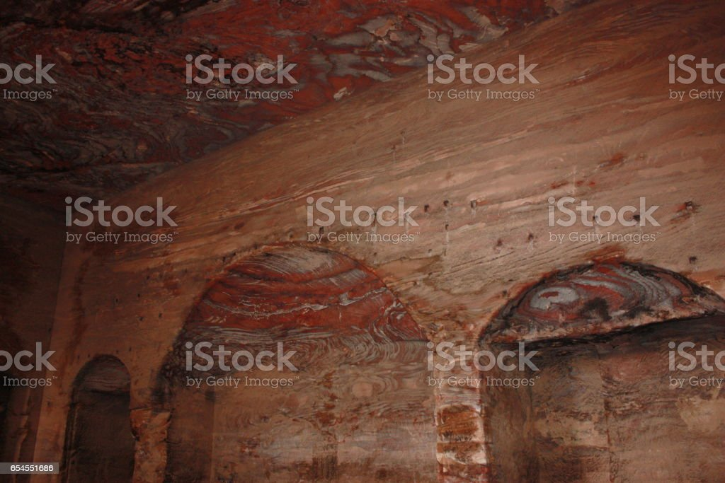 Inside the Urns grave in ancient nabatean city of Petra, Jordan Middle East stock photo