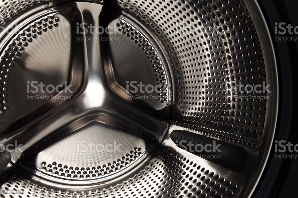 Inside the washing machine stock photo