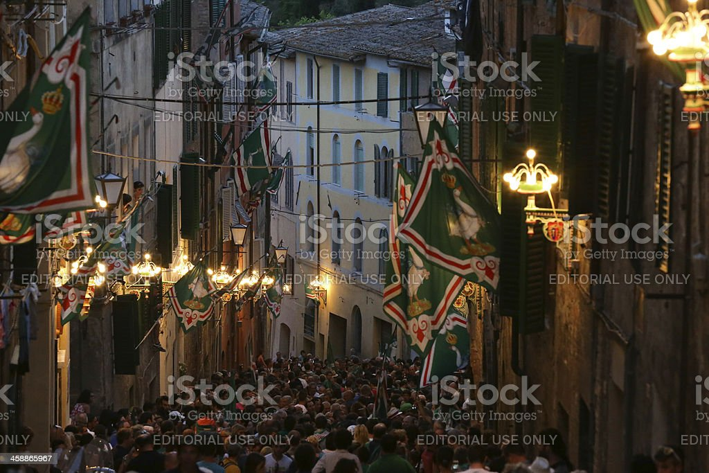 Inside the winning Il Palio contrada royalty-free stock photo