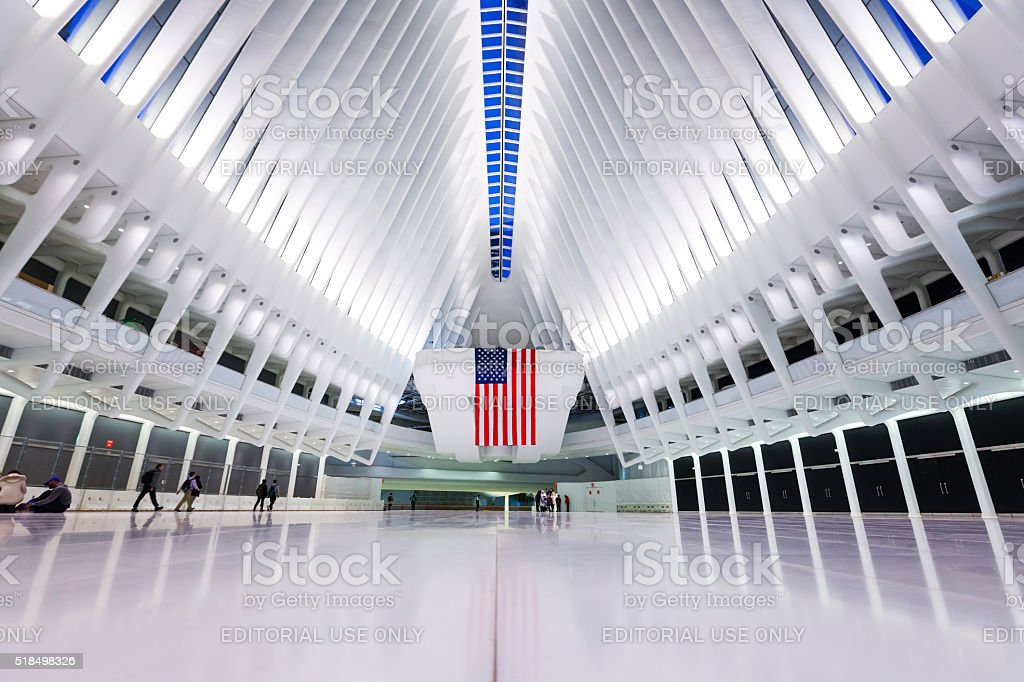 Inside the World Trade Center Transportation Hub stock photo