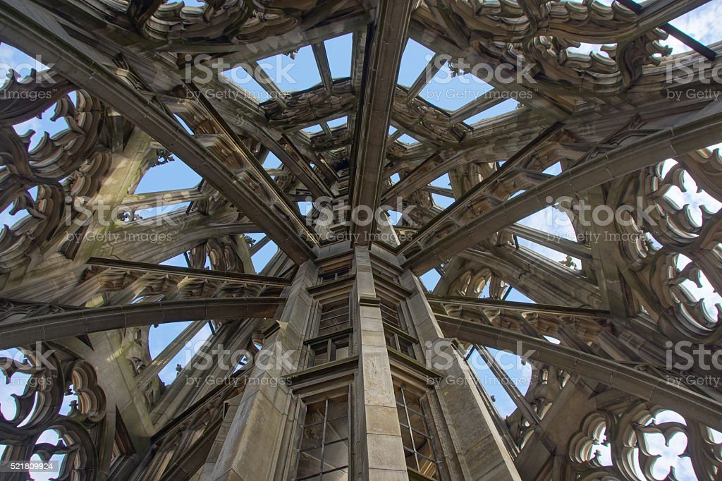 Inside Ulmer Münster tower stock photo