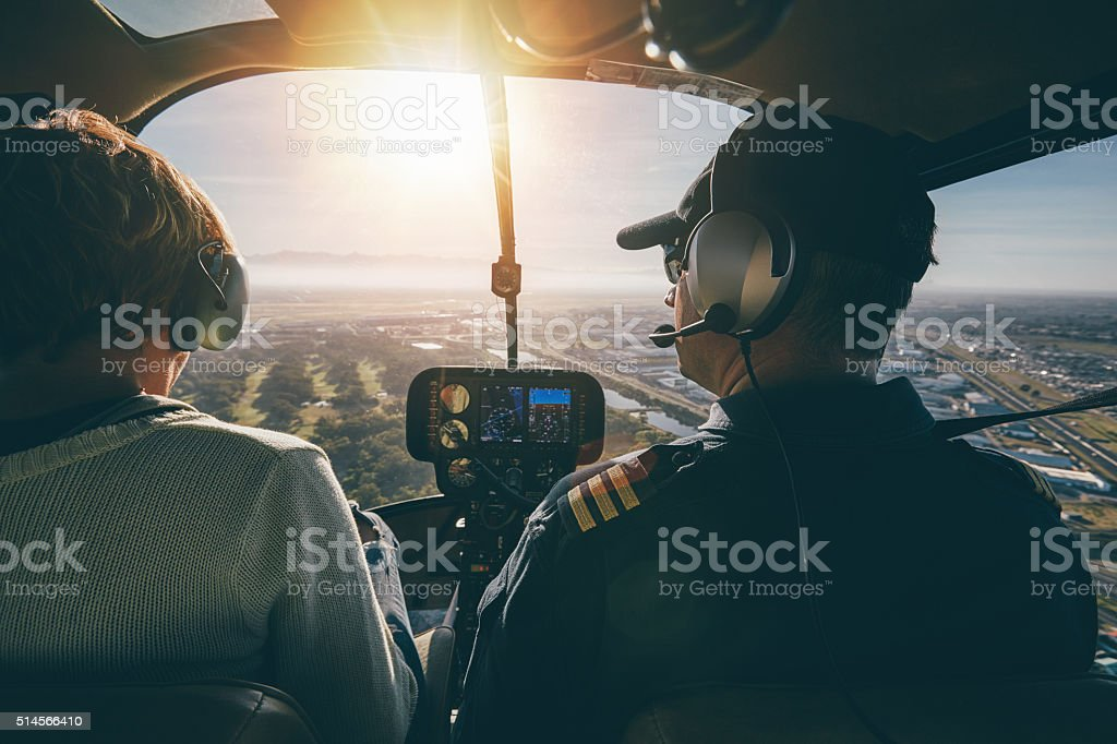 Inside view of a helicopter in flight stock photo