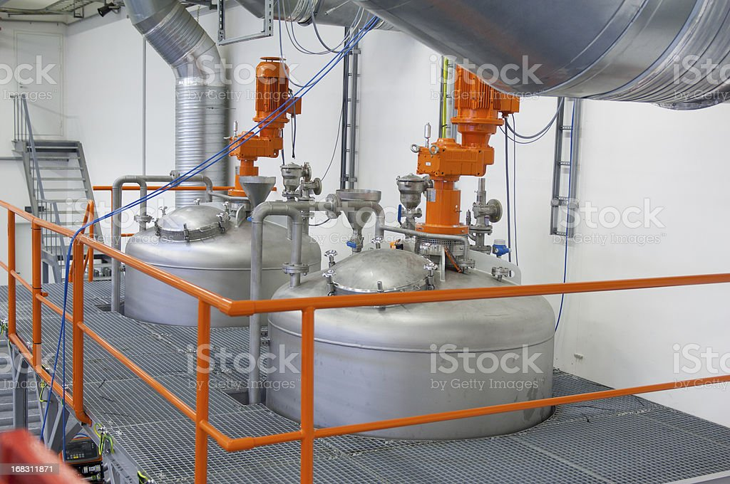 Inside view of a modern chemical plant stock photo