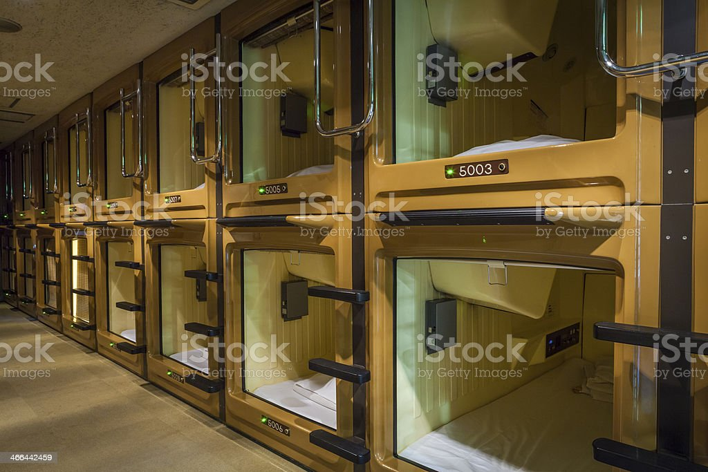 Inside view of an empty Japanese capsule hotel stock photo