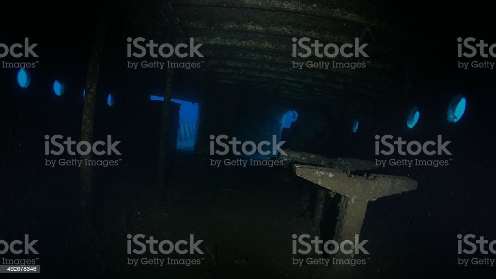 Inside view of Boga Shipwreck, Bali, Indonesia stock photo