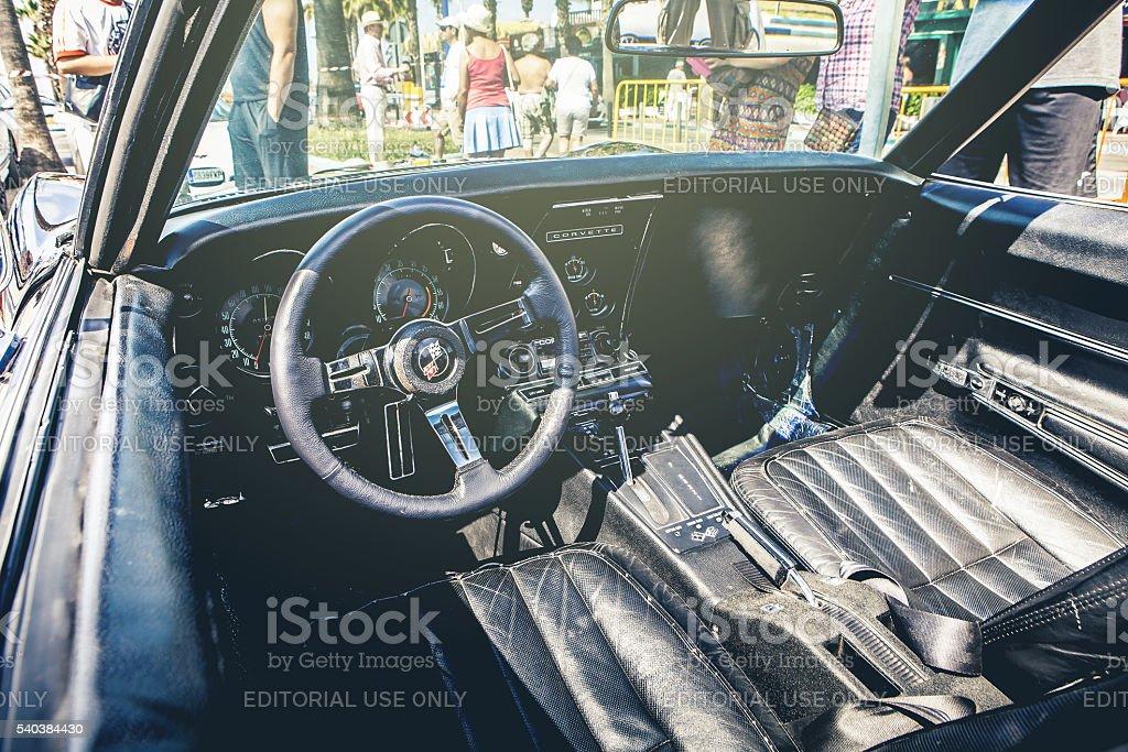 Inside view of Chevrolet Corvette C3. stock photo