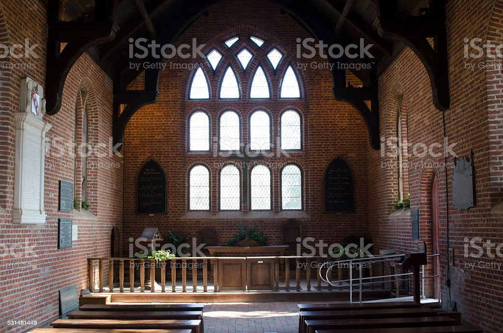 Inside view of church stock photo