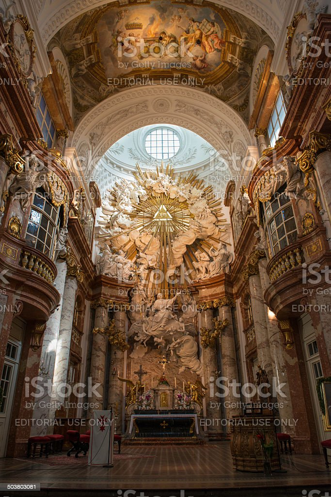 Inside view of Karlskirche church in Vienna stock photo