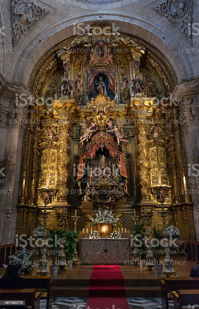 Inside view of Segovia Cathedral stock photo